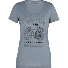 Icebreaker Tech Lite SS Crew Shirt Tour Club 1995 Women, szary